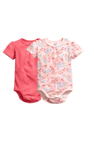 2-pack bodysuits - Coral pink - Kids | H&M
