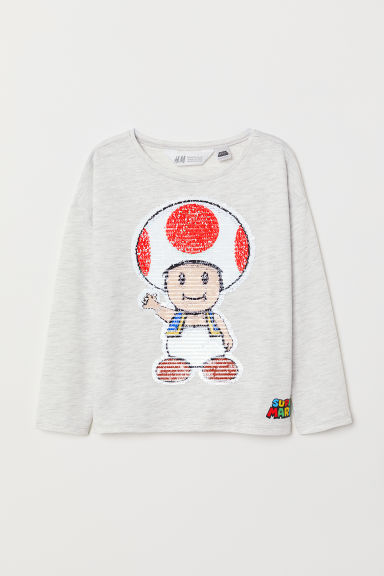 Top with reversible sequins - Light grey marl/Super Mario - Kids | H&M
