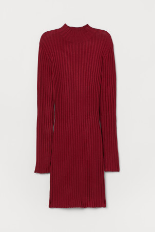 Ribbed polo-neck dress