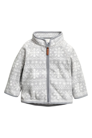 Fleece jacket - Light grey/Snowflakes - Kids | H&M GB