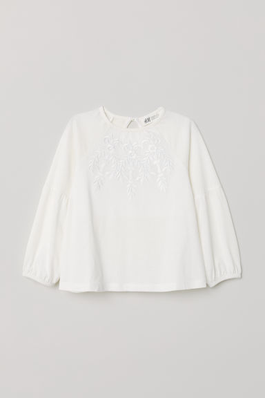 Jersey top - White/Flowers - Kids | H&M