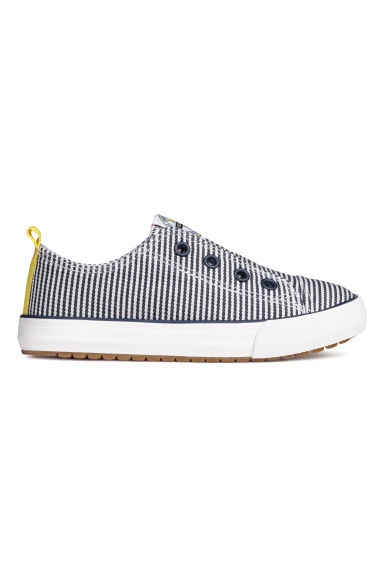 Trainers with elastication - Dark blue/White striped - Kids | H&M