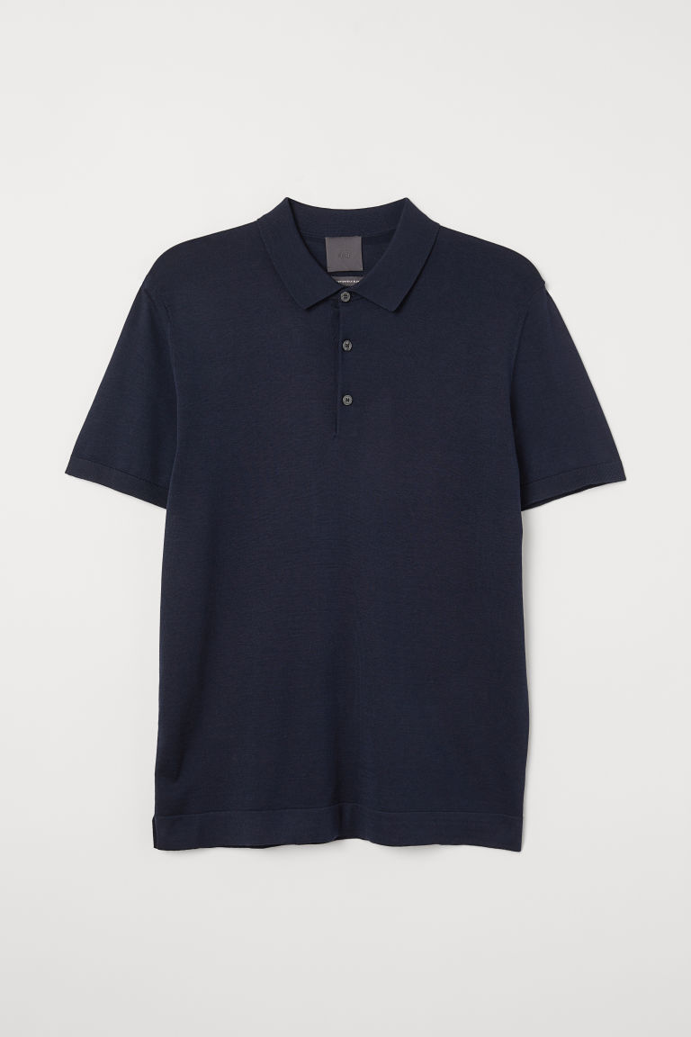 Silk-blend polo shirt - Dark blue - Men | H&M CN