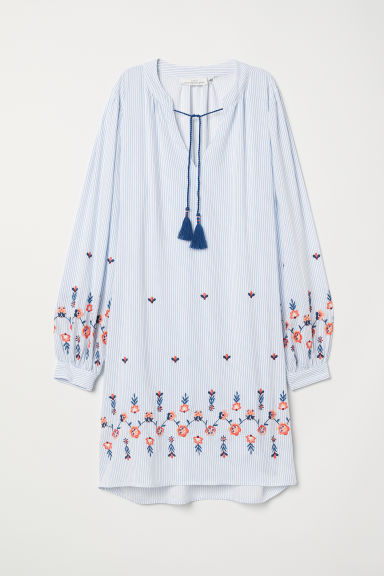 Striped tunic - White/Blue striped - Ladies | H&M CN