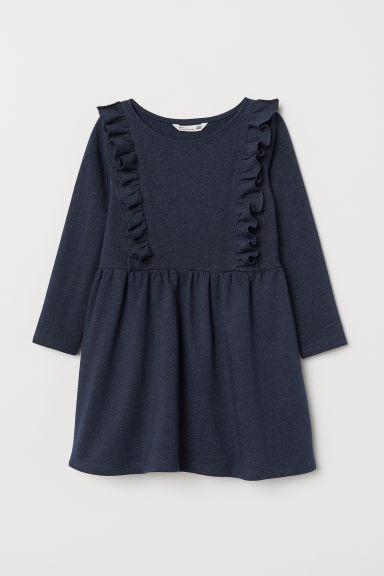Glittery sweatshirt dress - Dark blue/Glittery - Kids | H&M GB