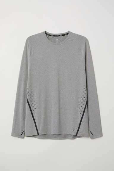 Long-sleeved running top - Grey marl - Men | H&M CN