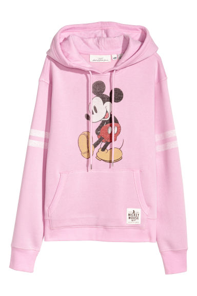 Printed hooded top - Light pink/Mickey Mouse -  | H&M IE
