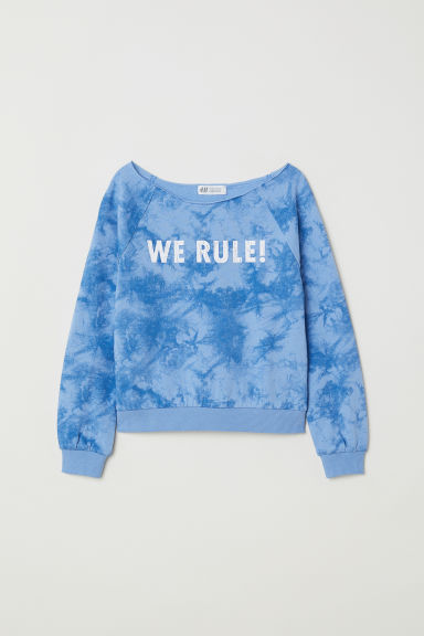 Printed sweatshirt - Blue/Batik pattern -  | H&M