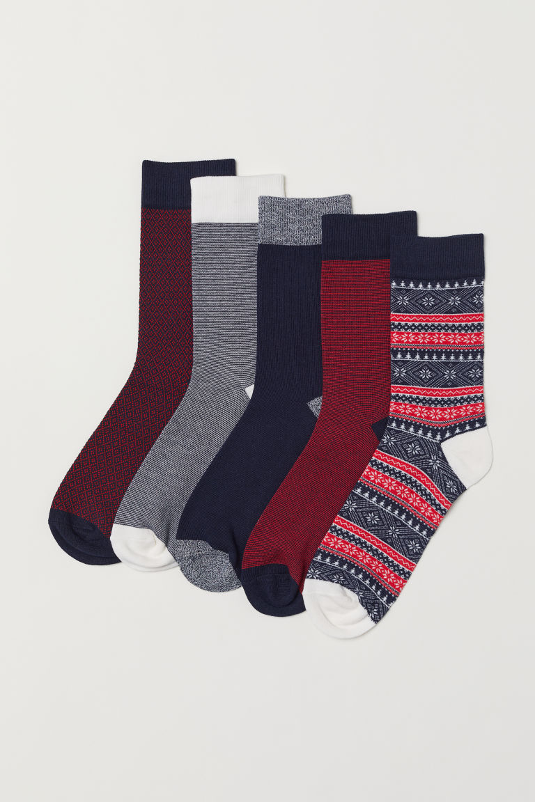 5-pack socks - Red/Patterned - Men | H&M