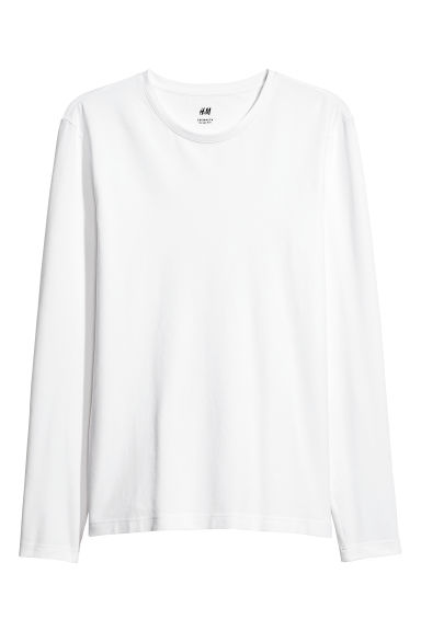Jersey top Slim fit - White - Men | H&M