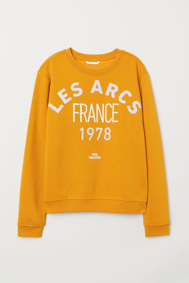Printed sweatshirt - Mustard yellow - Ladies | H&M GB