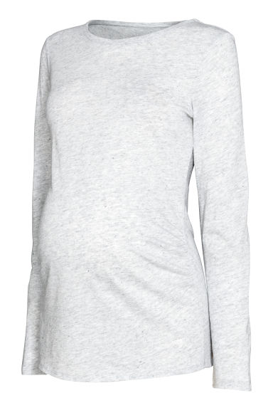 MAMA Jersey top - Light grey marl -  | H&M