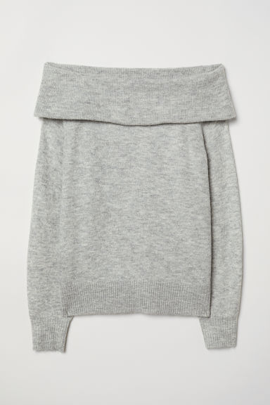 Off-the-shoulder jumper - Light grey marl - Ladies | H&M