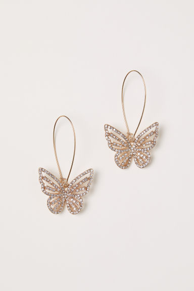 Sparkly butterfly earrings - Gold-coloured/Butterfly - Ladies | H&M CN