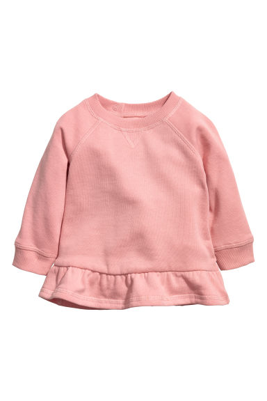 Flounced-hem sweatshirt - Powder pink -  | H&M CN