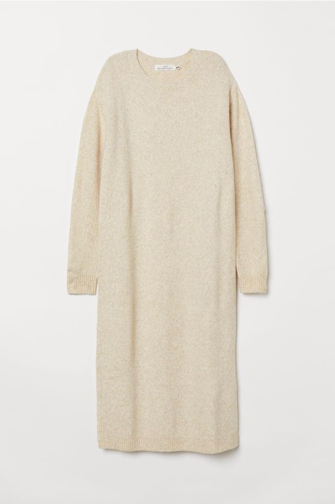 023ba936a83b07 Gebreide jurk - Lichtbeige gemêleerd - DAMES