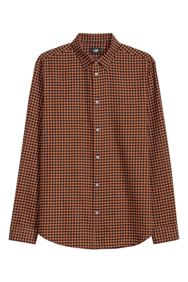 Cotton shirt Regular fit - Rust brown/Checked - Men | H&M CN