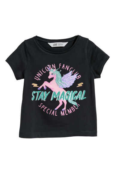 Printed jersey top - Black/Unicorn - Kids | H&M