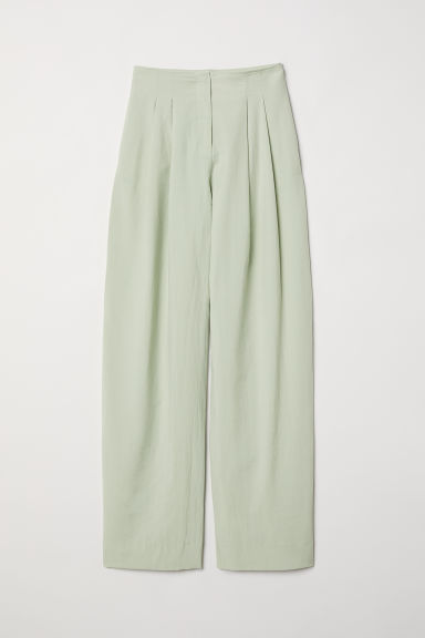 Wide lyocell-blend trousers - Light green -  | H&M
