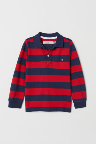 Long-sleeved polo shirt - Dark blue/Red striped - Kids | H&M CN