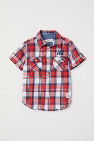 Short-sleeved Shirt - Red/plaid - Kids | H&M US