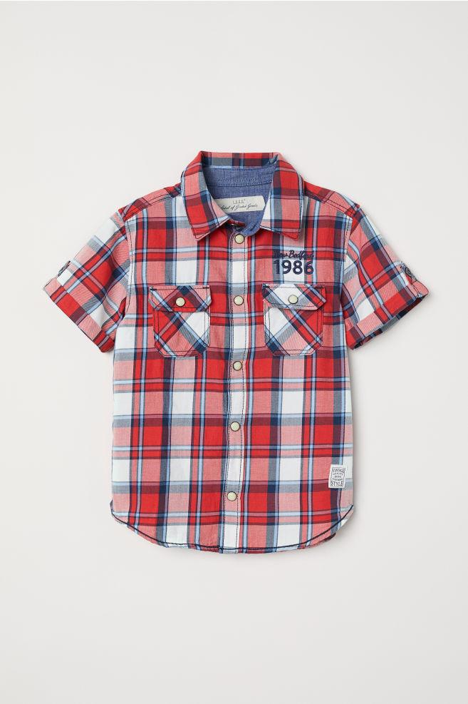 758aaabea8ce2 Chemise à manches courtes - Rouge/carreaux - ENFANT | H&M ...