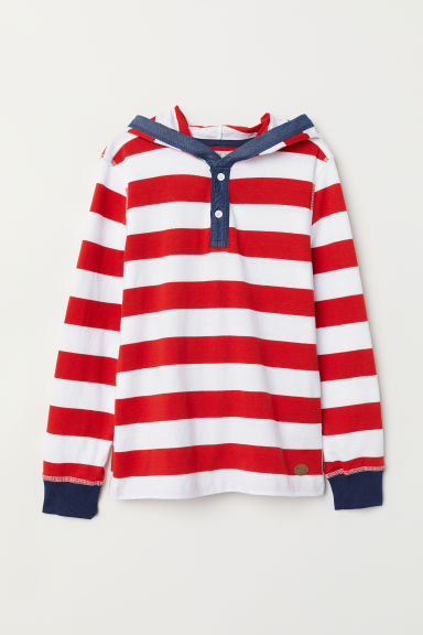 Jersey hooded top - Red/Striped -  | H&M