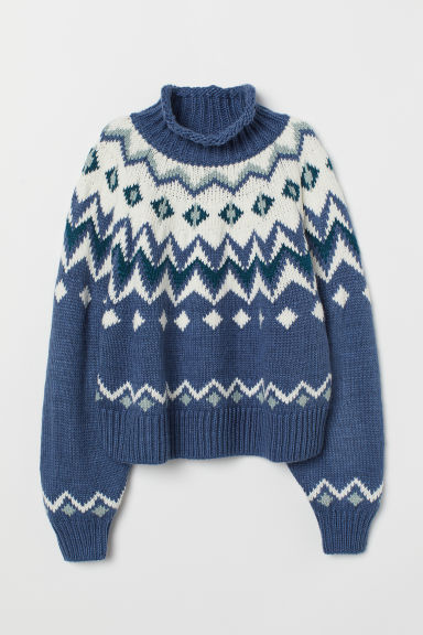 Jacquard-knit polo-neck jumper - Blue - Ladies | H&M GB