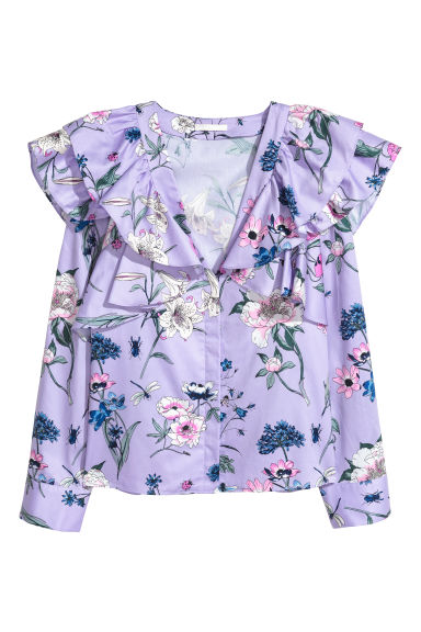 Frilled blouse - Purple/Floral -  | H&M