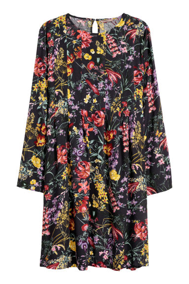 H&M+ Patterned dress - Dark blue/Floral - Ladies | H&M