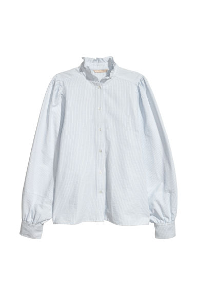 Blouse with a frilled collar - White/Light blue striped - Ladies | H&M