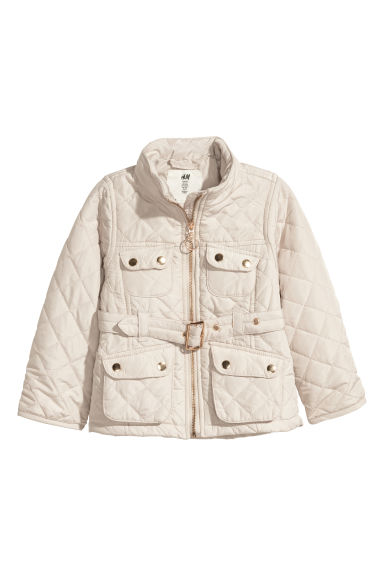 Quilted jacket - Light beige -  | H&M