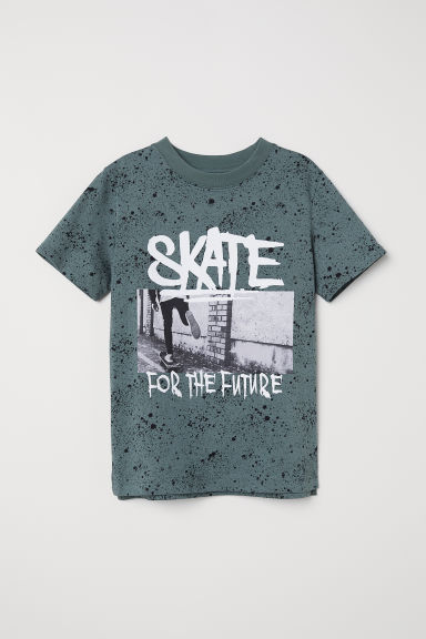 Printed T-shirt - Dark green/Skate - Kids | H&M