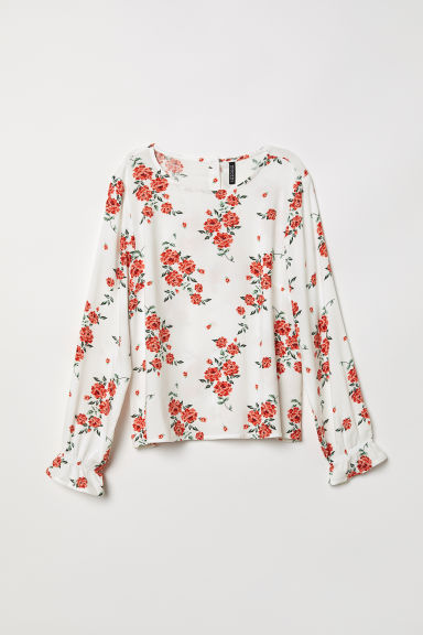Patterned viscose blouse - White/Floral - Ladies | H&M CN