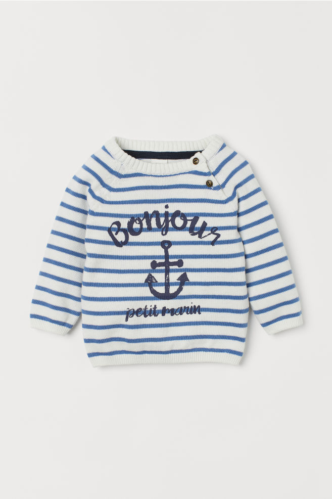6d29fbd7256f Fine-knit Sweater - White/blue striped - Kids | H&M ...