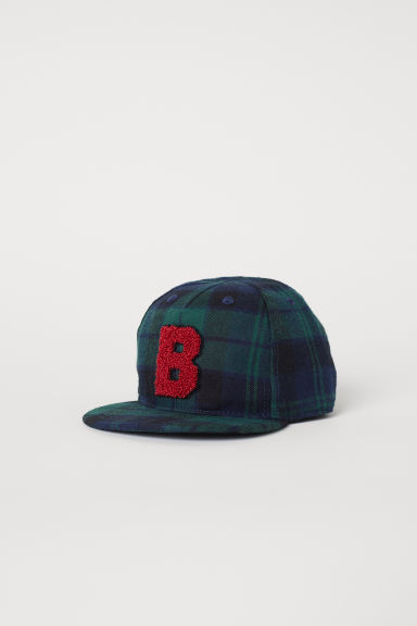 Cap with embroidery - Dark blue/Checked - Kids | H&M