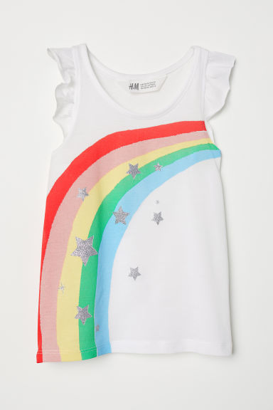 Printed jersey top - White/Rainbow - Kids | H&M CN