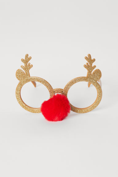 Glittery party glasses - Gold-coloured/Reindeer -  | H&M