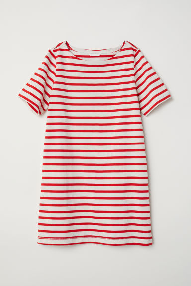 Jersey dress - Natural white/Red striped - Ladies | H&M CN