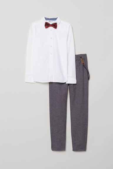 Shirt and trousers - White/Blue marl - Kids | H&M