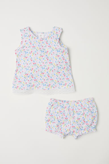 Top e shorts in jersey - Bianco/fiori -  | H&M IT