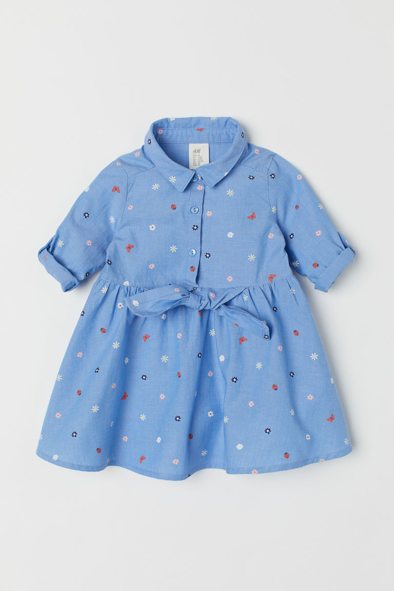 Cotton shirt dress - Blue/Floral - Kids | H&M
