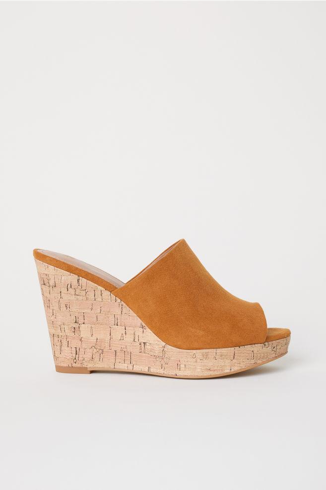 2baf69b01c2 Wedge-heel mules - Camel - Ladies
