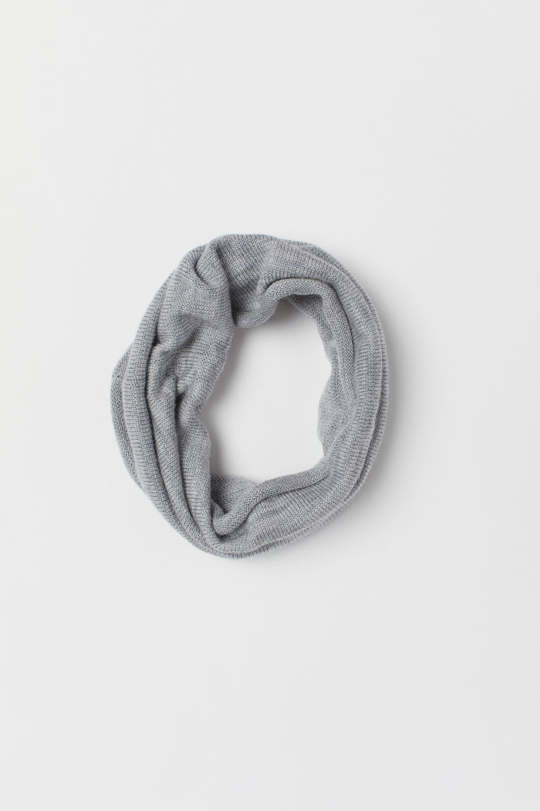 Fine-knit Wool Tube Scarf - Light gray melange - Kids | H&M US