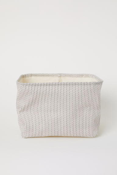 Cotton twill storage basket - Natural white/Grey striped - Home All | H&M GB