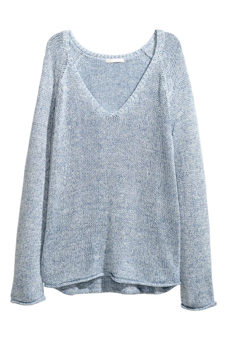 Loose-knit jumper - Light blue marl - Ladies | H&M