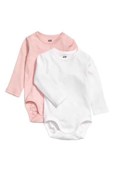 Bodies, lot de 2 - Rose poudré/blanc -  | H&M FR