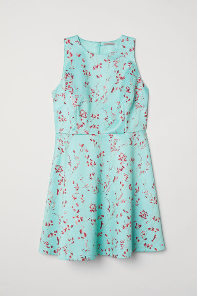 H&M+ Patterned satin dress - Light turquoise/Floral -  | H&M