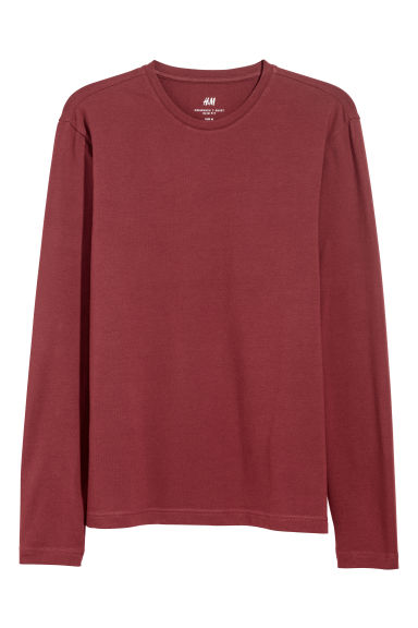 Long-sleeved jersey top - Burgundy - Men | H&M