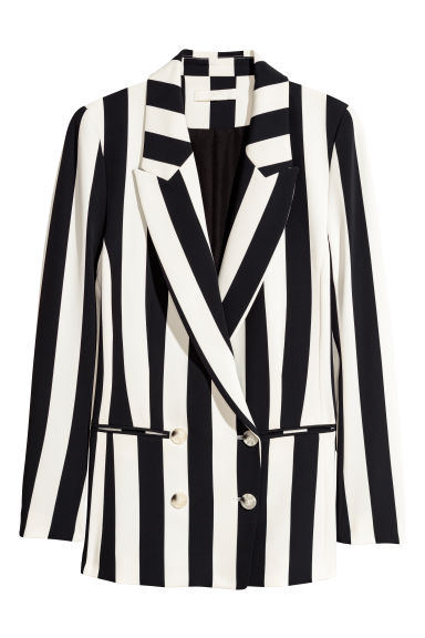 Double-breasted jacket - Black/White striped - Ladies | H&M CN